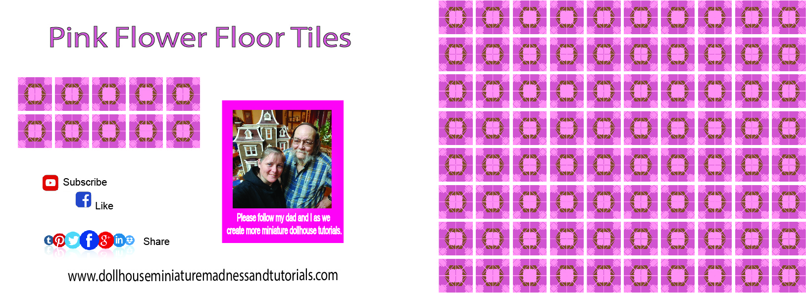 Templates floor wall dollhouse miniature madness and tutorials floor tile pink flowerr 1 110616 dailygadgetfo Gallery
